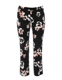 Black Floral Printed Stretch Cotton Pant