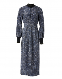 Reema Black and Blue Floral Silk Dress