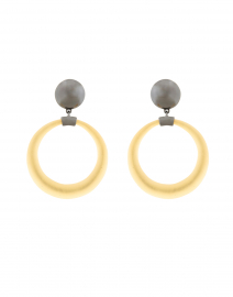 Gold Dome Link Hoop Clip Earrings