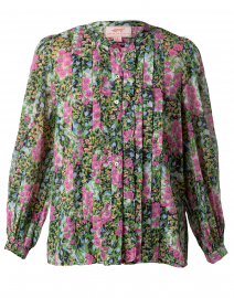 Jennifer Green and Purple Floral Cotton Top