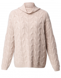 Beige Cable Knit Cashmere Sweater