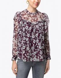 Shoshanna - James Burgundy Floral Printed Silk Top