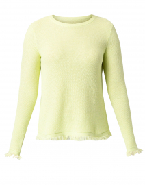 Twiggy Limoncello Green Cotton Frayed Sweater
