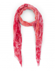 Coral and Red Paisley Silk Cashmere Scarf
