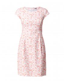 Coral Chevron Printed Stretch Cotton Pique Dress