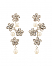 Aria Crystal Flower and Pearl Drop Earring