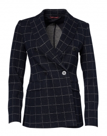 Nitra Navy and White Check Stretch Jersey Blazer