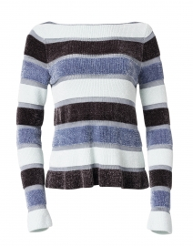 Blue and Black Striped Chenille Sweater