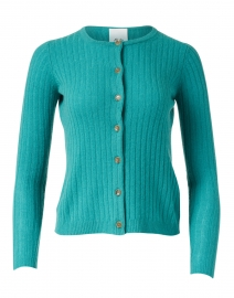 Allude - Jade Green Ribbed Wool and Cashmere Cardigan