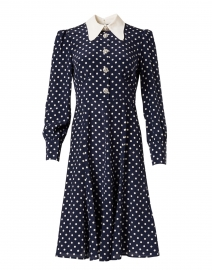 Mathilde Navy and Ivory Polka Dot Print Dress