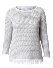 White and Grey Lattice Cotton Sweater