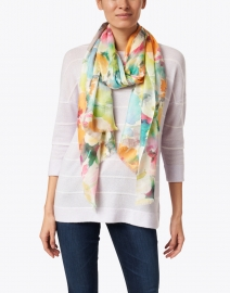 Kinross - Multicolor Flower Market Print Silk and Cashmere Scarf