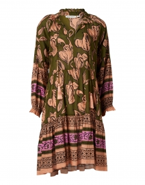 Janni Olive Green and Orange Floral Ebha Print Dress