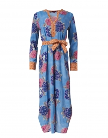 Alise Sky Blue Floral Cotton Kaftan Dress