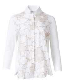 White and Beige Floral Embroidered Stretch Cotton Shirt