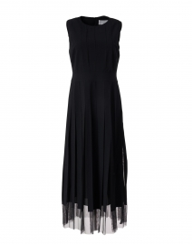 Divoby Black Midi Sleeveless Dress with Tulle Underlay