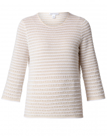 Vanilla and Optic White Cotton Scallop Stitch Sweater