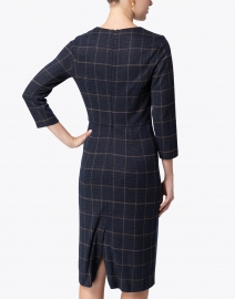 Peserico - Navy and Pink Check Jersey Dress