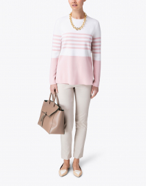 Allude - Pale Pink and White Striped Sweater