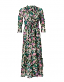 Bazaar Black and Pink Floral Cotton Crepe Maxi Dress