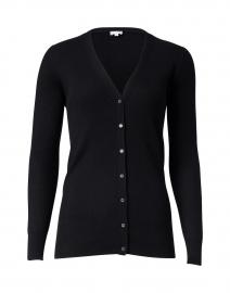 Black Silk Cashmere Rib Cardigan
