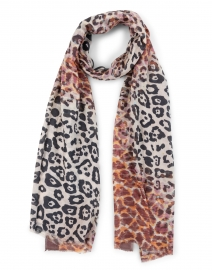 Rust Animal Printed Cashmere and Silk Scarf