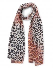 Bindya - Rust Animal Printed Cashmere and Silk Scarf