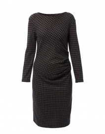 Saletta Navy and Beige Check Jersey Dress