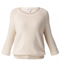 Vanilla Beige Cotton Tab Sleeve Sweater