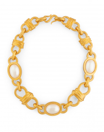 Pearl Encrusted Gold Chain Link Necklace