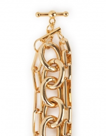 Kenneth Jay Lane - Gold Three Row Link Bracelet with Toggle Clasp