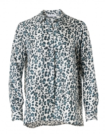 Grey and Blue Animal Print Silk Twill Blouse