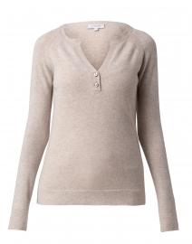 Beige Cashmere Henley Sweater