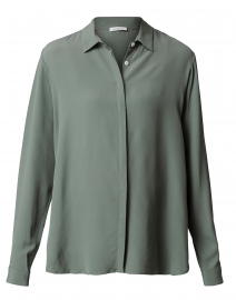 Green Button Down Silk Blouse