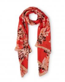 Orange Floral Printed Silk Scarf