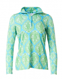 Blue and Green Leaf Printed Stretch Top