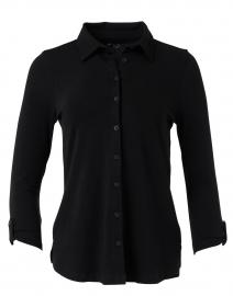Black Stretch Cotton Button Down Top