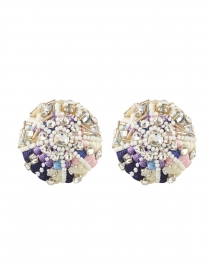 Sea Urchin Blue and Violet Beaded Clip-On Earrings