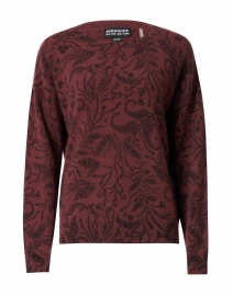 Burgundy and Black Floral Cashmere Sweater