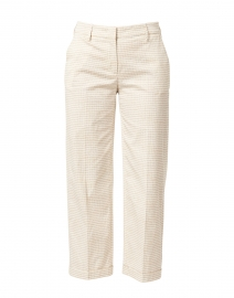 White and Beige Mini Ikat Print Stretch Cotton Pant