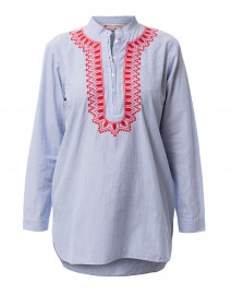 Silvie White and Blue Pinstriped Cotton Kurta Top