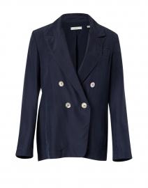 Navy Silk Double Breasted Blazer