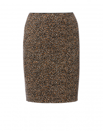 Beige Leopard Printed Knit Skirt
