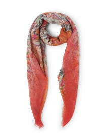 Euclide Pink and Orange Paisley Printed Cashmere Scarf