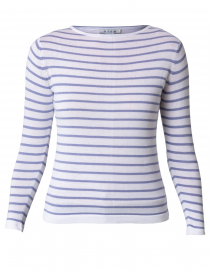 White and Purple Fine Stripe Cotton Sweater