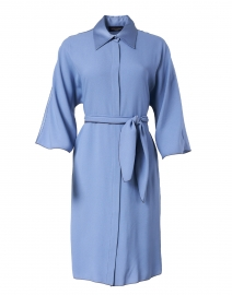 Blue Cady and Satin Shirt Dress