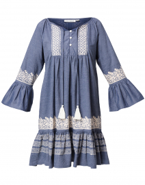Maricruz Blue Embroidered Cotton Dress