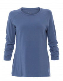Cadet Blue Pima Cotton Ruched Sleeve Tee