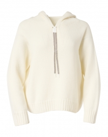 Ivory Wool and Silk Hooded Sweater