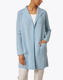 Kinross - Blue and Grey Cashmere Jacquard Cardigan